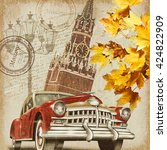 moscow vintage poster. | Shutterstock . vector #424822909
