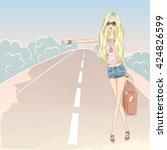 beautiful cute blonde girl on... | Shutterstock .eps vector #424826599