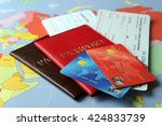 credit cards with passports and ... | Shutterstock . vector #424833739