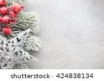 christmas tree  greeting card.... | Shutterstock . vector #424838134