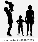 family together silhouettes | Shutterstock .eps vector #424839229