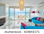 luxury bright interior of villa ... | Shutterstock . vector #424843171