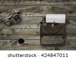 top view of stuff office desktop | Shutterstock . vector #424847011