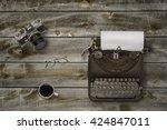 top view of stuff office desktop | Shutterstock . vector #424847011