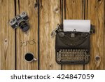 top view of stuff office desktop | Shutterstock . vector #424847059