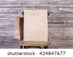 chair with blank shopping bag... | Shutterstock . vector #424847677