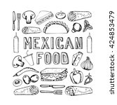 mexican food. mexican kitchen.... | Shutterstock . vector #424853479