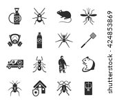 pest control black white icons... | Shutterstock .eps vector #424853869