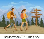 Couple Trekking In Mountains....