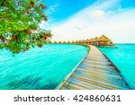 beautiful tropical maldives... | Shutterstock . vector #424860631