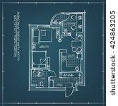 architectural blueprint floor... | Shutterstock .eps vector #424863205