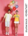 romantic young lovers | Shutterstock . vector #424867687