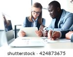 close up of graphs and charts... | Shutterstock . vector #424873675