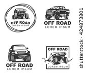 set offroad suv car monochrome... | Shutterstock .eps vector #424873801