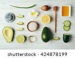 still life with avocado oil on... | Shutterstock . vector #424878199