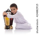 happy young boy hugging ramadan ... | Shutterstock . vector #424882915