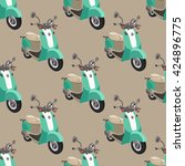 seamless pattern with  scooter... | Shutterstock .eps vector #424896775