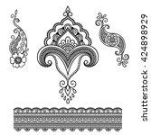 set of mehndi flower pattern...   Shutterstock .eps vector #424898929