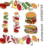set with different burgers.... | Shutterstock .eps vector #424900759