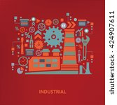industry concept design on red... | Shutterstock .eps vector #424907611