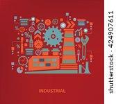 industry concept design on red... | Shutterstock .eps vector #424907611