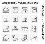 waterproofing and water leaked... | Shutterstock .eps vector #424909234