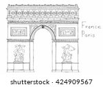 hand drawn architecture sketch... | Shutterstock .eps vector #424909567