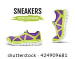 background of two running shoes.... | Shutterstock .eps vector #424909681