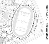 3d layout wireframe of stadium... | Shutterstock .eps vector #424913281
