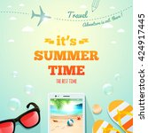 it's summer time typographic... | Shutterstock .eps vector #424917445
