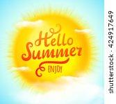 hello summer  typographic... | Shutterstock .eps vector #424917649