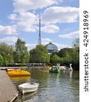 Small photo of LONDON - MAY 15, 2016. The boating lake at Alexandra Palace, a historic entertainment, exhibition and events venue dating from 1873, informally known as Ally Pally, located in north London, UK.