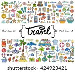 vector set with hand drawn... | Shutterstock .eps vector #424923421