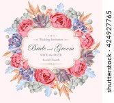 wedding invitation with peony... | Shutterstock .eps vector #424927765
