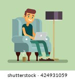 man with laptop relaxing in...   Shutterstock .eps vector #424931059