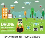 modern air drones infographic... | Shutterstock .eps vector #424935691
