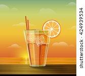 glass with lemonade at sunset.... | Shutterstock . vector #424939534