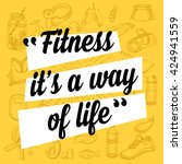 fitness motivation quote poster.... | Shutterstock .eps vector #424941559