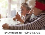 child  inhalation  healthcare ... | Shutterstock . vector #424943731