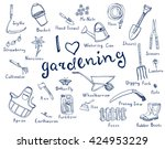 hand drawn doodles of gardening ...   Shutterstock .eps vector #424953229