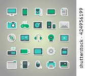 set of 25 vector stickers with...   Shutterstock .eps vector #424956199