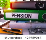 pension   green office folder... | Shutterstock . vector #424959064