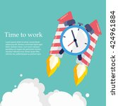 time to work. time is running... | Shutterstock .eps vector #424961884