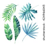 Watercolor Tropical Leaves Set...