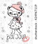 cute fashion bear   Shutterstock .eps vector #424967119