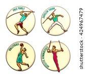 athlete icon. volleyball.... | Shutterstock . vector #424967479
