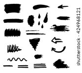 black brush stroke set... | Shutterstock .eps vector #424968121