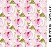 watercolor pink rose flowers...   Shutterstock .eps vector #424971619