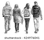 teenagers on a stroll | Shutterstock . vector #424976041
