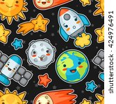 kawaii space seamless pattern.... | Shutterstock .eps vector #424976491